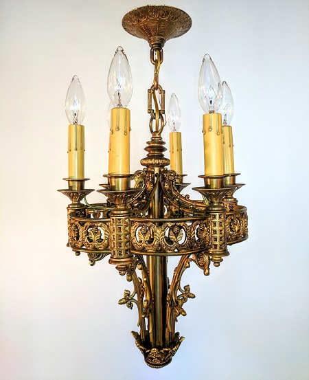 Antique french brass chandelier five light waterglass studios ltd antique french brass chandelier five light aloadofball Gallery
